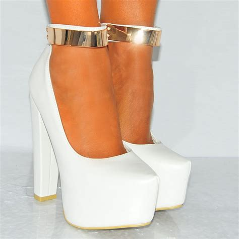 white ankle high heels womens white pu faux leather concealed platforms