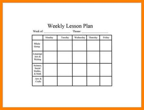 6 week lesson plan template