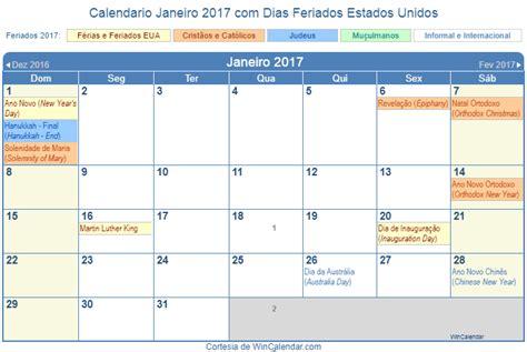 Calendario 2017 Feriados De Janeiro Calend 225 Janeiro 2017 Para Imprimir Estados Unidos