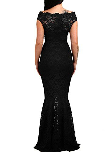 elapsy womens shoulder bardot lace evening gown fishtail maxi dress black medium