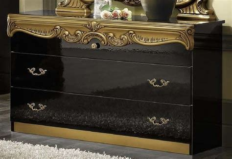 Black And Gold Dresser by Camel Barocco Black And Gold Italian Dresser Single