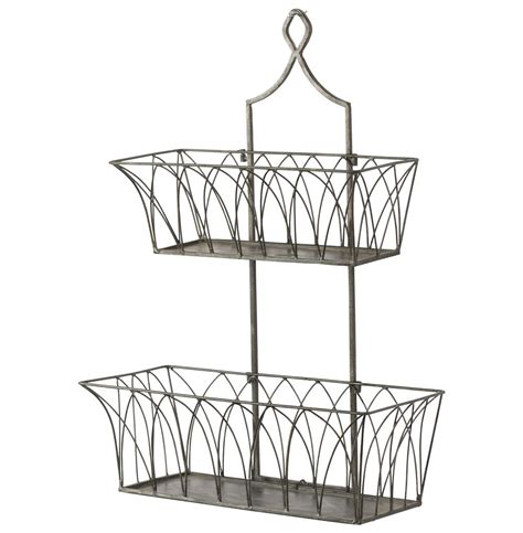 garden wall baskets country rectangular metal 2 tier garden wall basket