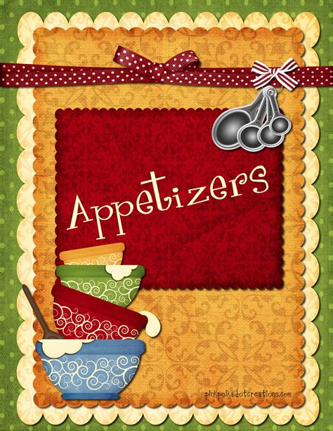 free printable appetizer recipes recipe book dividers pink polka dot creations