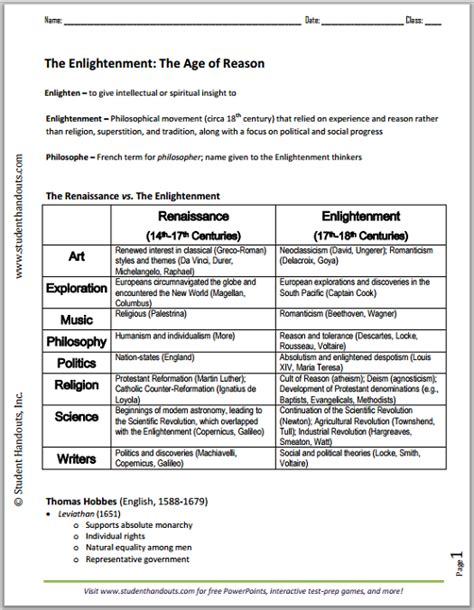 European Enlightenment Printable Outline Free To Print