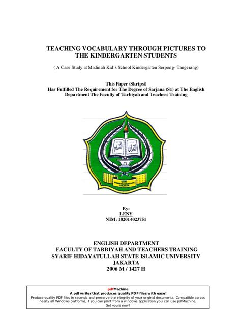 Teaching Vocabulary Through Thesis by Teaching Vocabulary Through Pictures To The Kindergarten