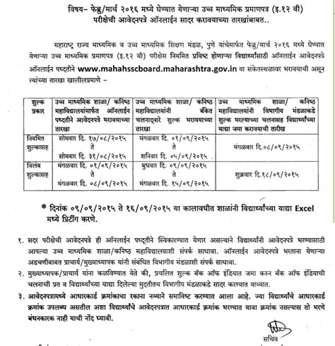 application letter format hsc board maharashtra hsc 12th form 2017 www mahahsscboard