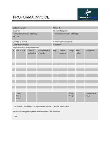free proforma invoice templates 8 exles word excel