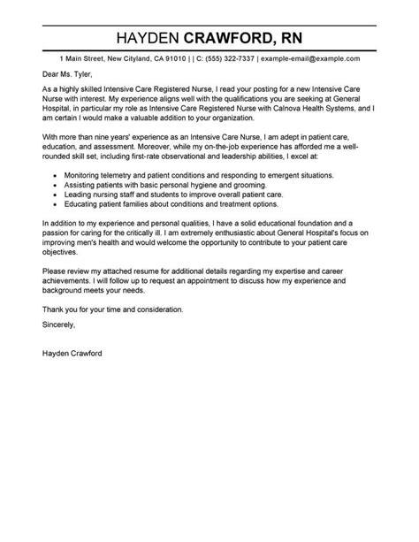 application letter icu best intensive care cover letter exles livecareer