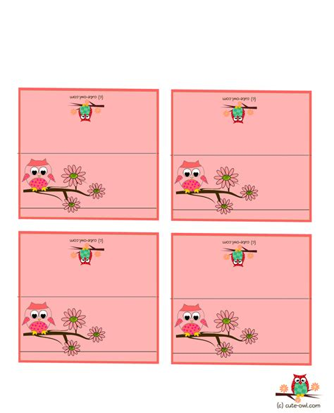 baby shower place cards template free printable owl place cards