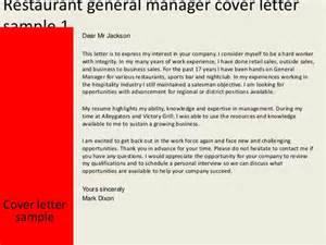 Cover Letter For Assistant Restaurant Manager by Restaurant Assistant General Manager Cover Letter