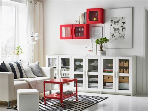ikea living room cabinets a white living room with a two seat sofa and a low storage