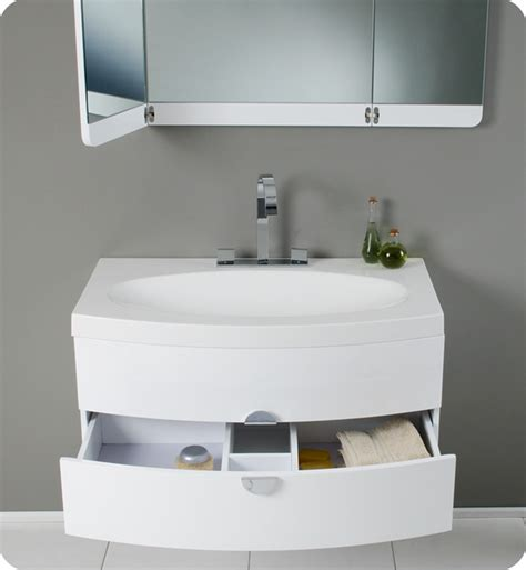 White Modern Bathrooms Fresca Energia White Modern Bathroom Vanity With Three Panel Folding Mirror