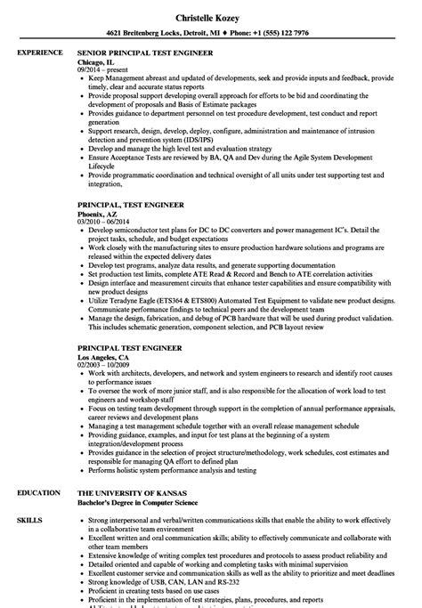 Principal Test Engineer Sle Resume by Principal Test Engineer Resume Sles Velvet