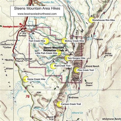 mountains oregon map day hikes in the steens mountain area