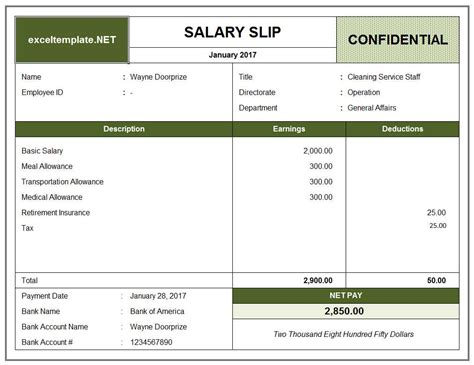 salary receipt template us salary slip excel templates