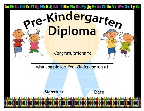 kindergarten certificate template pre kindergarten graduation diplomas blank graduation