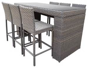 Patio Table Set Harmony Bar Table Set With Bar Stools 7 Set Tropical Outdoor Pub And Bistro Sets By