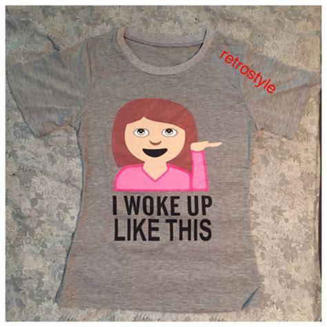 turn up i woke up in a new bugatti emoji print i woke up like this tshirt fashion emoji top
