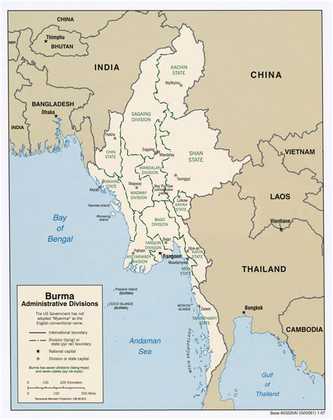 where is myanmar on the map file burma administrative divisions 2007 jpg wikimedia