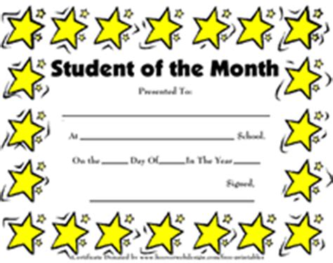 free printable student of the month certificate templates printable student of the month awards school certificates