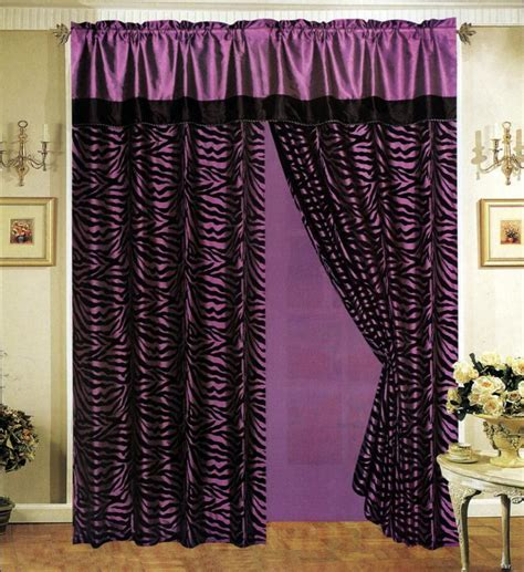 zebra curtain black purple zebra stripe satin window curtain drape set