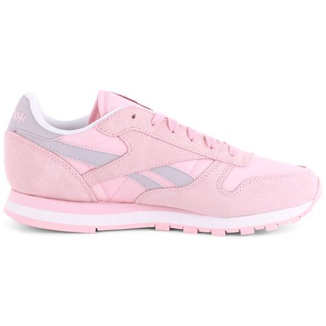 light pink and white shoes reebok classic leather seasonal i womens light pink