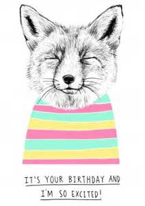 excited fox birthday card wb1052