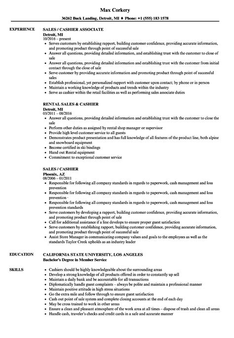 sle of resume for cashier sales cashier resume sles velvet