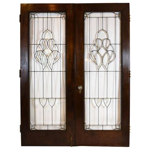 Arts And Crafts Beveled Glass French Door Set At 1stdibs Beveled Glass Door