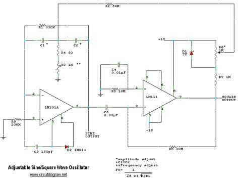 adjustable sinesquare wave oscillator circuit schematic