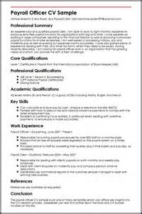 payroll resume template payroll officer cv sle myperfectcv
