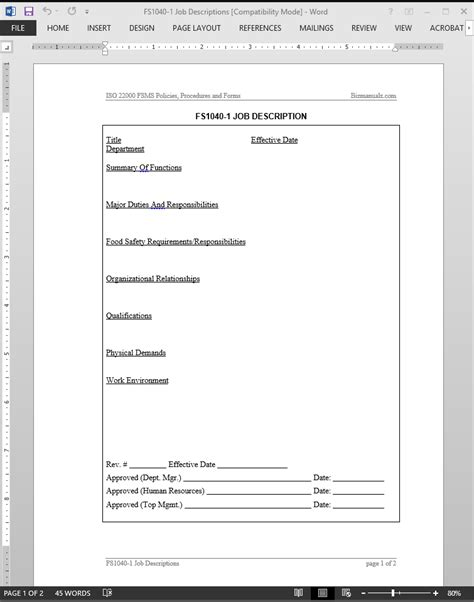 iso description template fsms description template