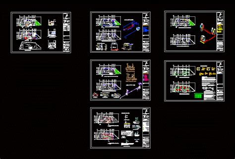 two story house with garage 2d dwg project for