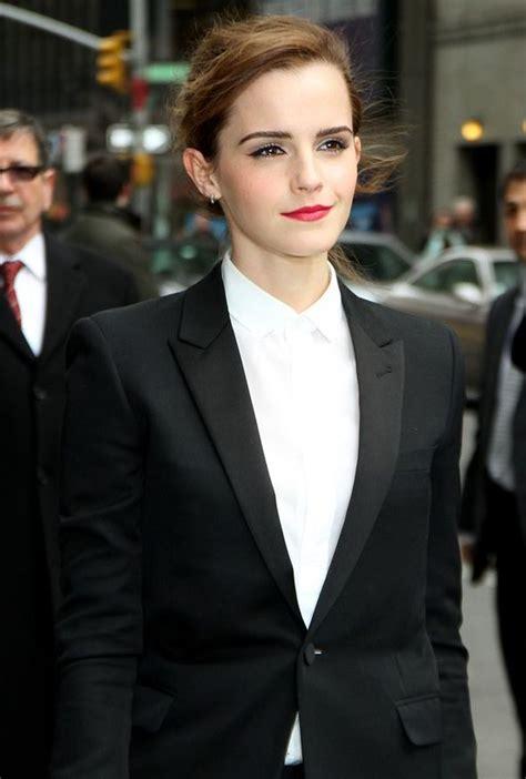 emma watson in suit emma watson wears a sharp black trouser suit for david