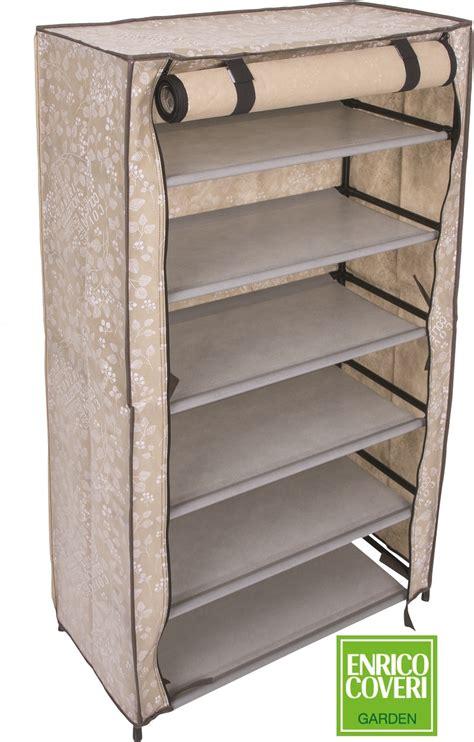 scarpiera scaffale scarpiera scaffale 6 ripiani enrico coveri beige 61x30x107