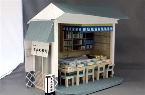 Papercraft Cafe - sushi bar restaurant paper model by paper museum from
