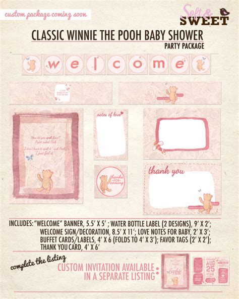 Vintage Winnie The Pooh Baby Shower by Classic Winnie The Pooh Baby Shower Printable Package