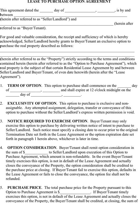 lease with option to buy agreement template more than 300 professional rent and lease templates in