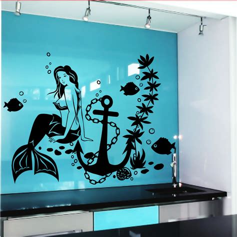 Wall Decal Mermaid Fish Anime Girl Stickers Marine Design Decals For Rooms