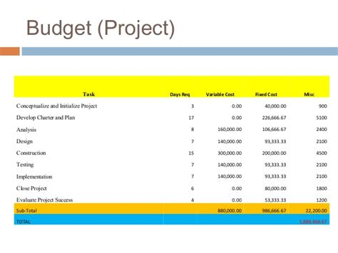 Budget And Budgetary Mba Project by Project Management Exle