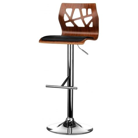 faux leather bar stools buy walnut and black faux leather bar stool from fusion living