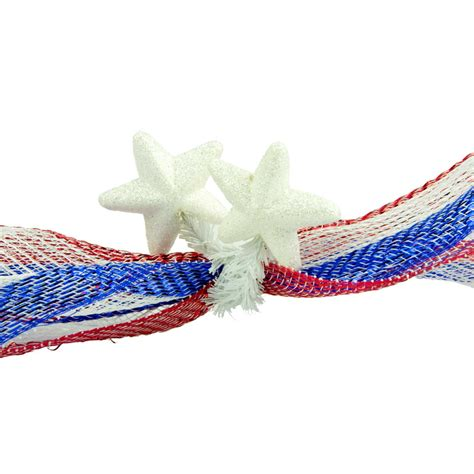 6 quot white tinsel ties w stars iridescent white set of 12