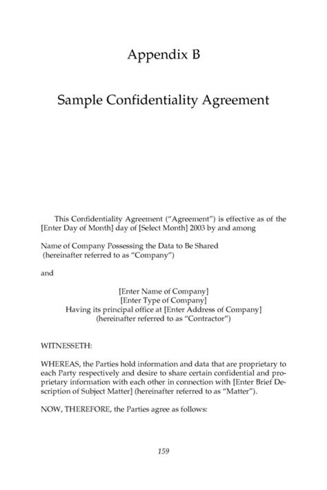 statement of agreement template confidentiality agreement sle free printable documents