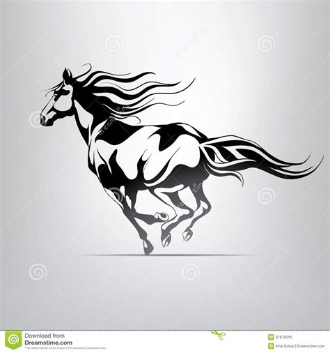 vector silhouette of a running horse stock illustration