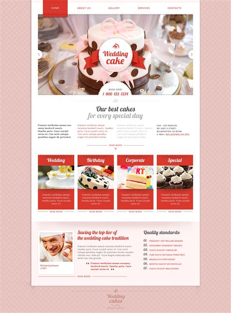 wedding cake responsive website template 48177 - Cake Websites