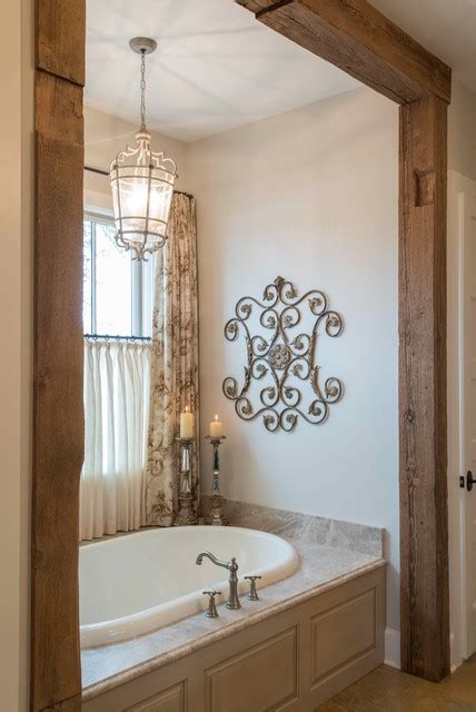 hill country french country farmhouse bathroom