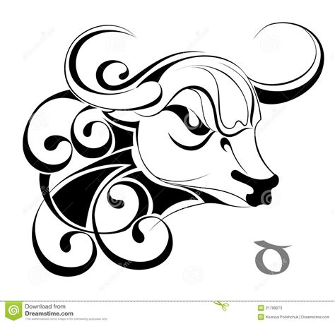 zodiac signs taurus tattoo design stock photos image