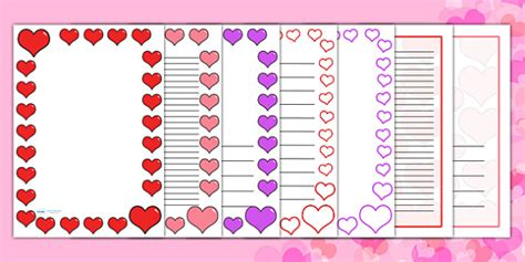 valentines day card template ks1 s day page borders a4 s day
