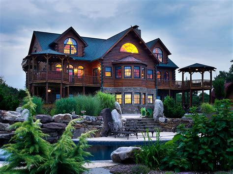 Exterior Home Design Types by Hennessey 02990 Katahdin Cedar Log Homes