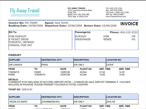 travel invoice template free printable invoice